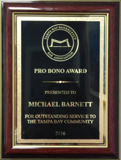 2016 Pro Bono award for